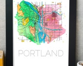 Portland Oregon Map, PDX Map, Portland Map Print, Portland Map Watercolor Painting