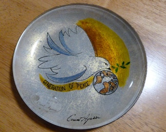Vintage Generation of Peace Plate by Count Apassi Dove with Fig Leaf