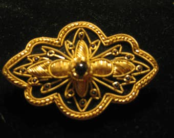 Black Barrette with Golden Embroidery and Beads