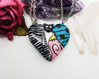 Jack Skellington necklace, Sally Necklace, a Nightmare Before Christmas, Tim Burton, Broken Heart Necklace