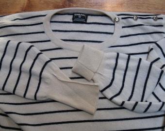 Authentic 1980's CHANEL Cashmere Pullover Jumper Navy Cream Nautical Stripe Unisex Sweater