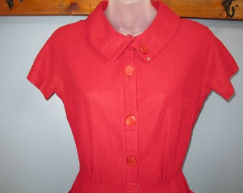 1940's Red Dress Burgundy Shirt Dress Wiggle Dress Jonathan Logan
