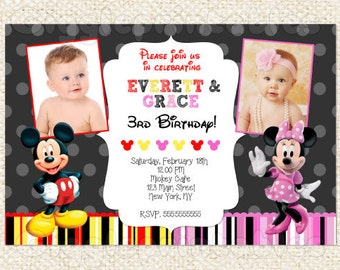 Mickey Mouse and Minnie Mouse TWIN Birthday Invitations, Mickey and Minnie Invitations