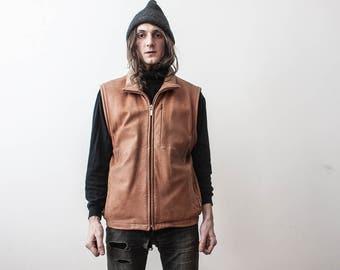 Leather WaistCoat Vintage Vest 1980s Beige Leather Jacket Boho Outerwear Spring