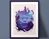 Hogwarts Harry Potter Wizard Art Print Silhouette Design
