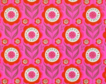 Vintage Tuttle MOD BIRTHDAY Gift Wrap - Wrapping Paper - Bright Pink FLOWER Power! - 1960s 1970s