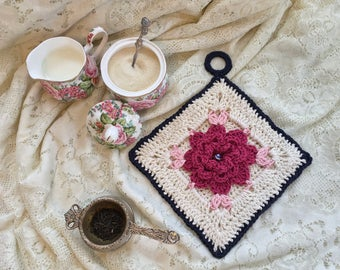 Cottage Rose Potholder