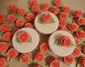 18 Coral Royal Icing Roses Edible For Cakes, Cupcakes,