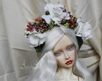 Wealthy Goddes flower handmade headband wreath corolla for bjd dollfie sd 8-10 inch size dolls heads