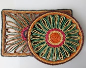 Set of 2 coasters, vintage coaster woven, Braided Coasters. Wicker coasters