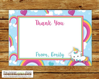 Unicorn Thank You Card | Unicorn Party Theme Chalkboard Thank You Card | Unicorn Birthday Thank You Card