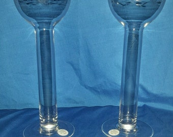Princess House Crystal Candle Holders or Bud Vases, Tall Goblet Style Crystal Floating Candle Holders ECS