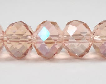 """Crystal Rondelle Beads 10x8mm (8x10mm) Peach-Pink AB Crystal Beads, Glass Rondelle Beads, Chinese Crystal Beads on a 7"""" Strand with 24 Beads"""