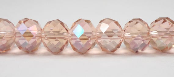 "Crystal Rondelle Beads 10x8mm (8x10mm) Peach-Pink AB Crystal Beads, Glass Rondelle Beads, Chinese Crystal Beads on a 7"" Strand with 24 Beads"