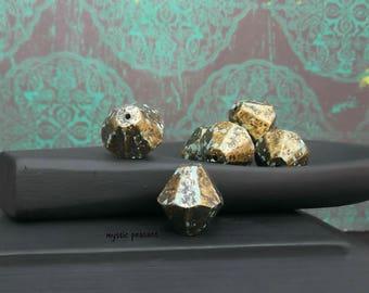Large Acrylic Bicone Bead - Antique Brass Mint Green - Bohemian Hippie Patina Green Bead - 16mm - Pkg. 8