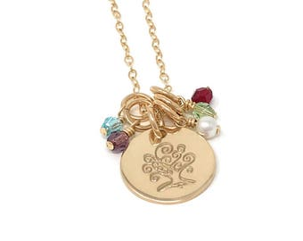 Stamped Family Tree  Necklace - Family Tree  Necklace - Mother's Jewelry