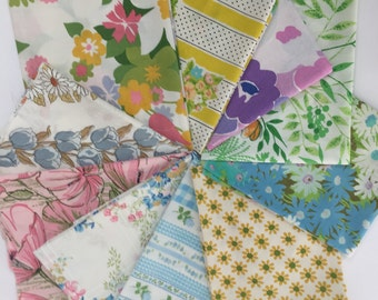 Ten vintage sheet fat quarters, bright colors