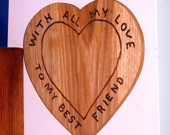 All My Love Plague and Wall Hanging To My Best Friend, Solid Maple, Hand Routed and Finished