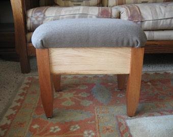 Upholtered Hardwood Footstool/Ottoman