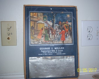 1938 Geo Miller Seekonk, Mass New England Heritage Dairy Milk Calendar