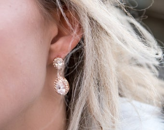 Bridal Earrings, CLARA Wedding Rose Gold Earrings Swarovski Earrings Dangle Bridal Earrings, Cubic Zircona Drop Earrings, CZ Dangle Earrings
