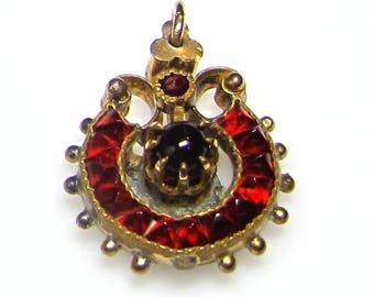 Victorian 14k Yellow Gold Filled Petit Garnet Pendant Charm with Cabochon Stones - REDUCED - January Birthstone # 3025