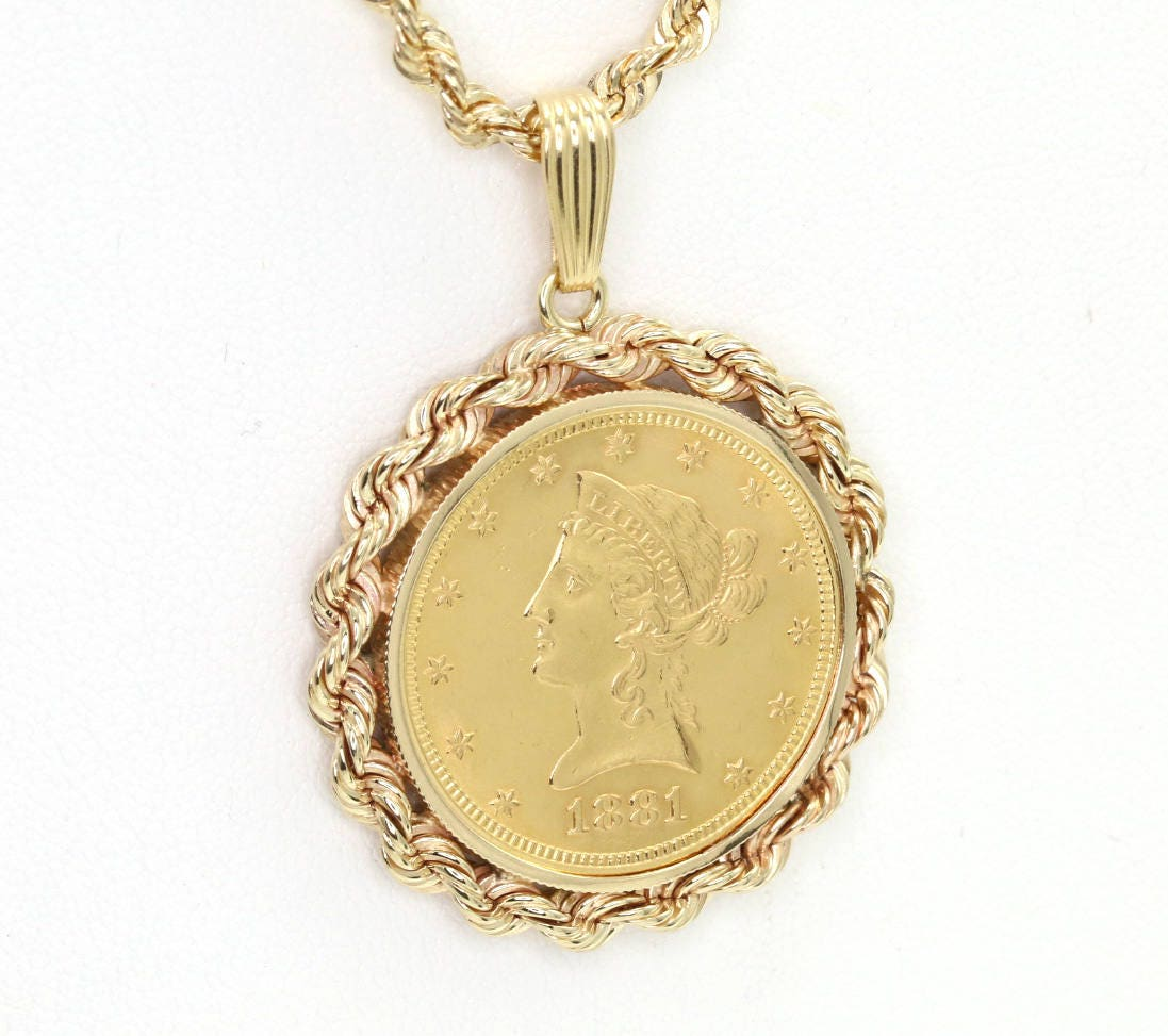 Vintage 1881 10 Liberty Gold Coin Jewelry Pendant Set In 14k