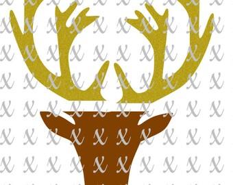 Deer Svg Front Face Split Antler Head Deer Svg Png Dxf Woodland Design Split Deer Design