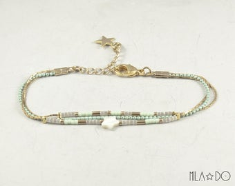 Maho bracelet, gold and mint || Dainty bracelet