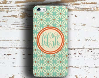 Personalized iPhone 6 case, Floral Coral orange and light blue ( 9923)