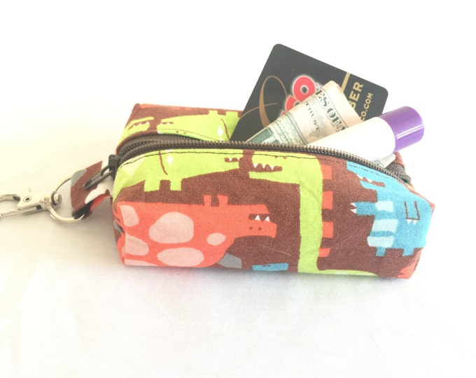 Zippered Keychain Pouch, Coin Purse, Card Holder, Tissue holder, Dog walking bag, Dinosaur lipbalm holder, Dog poop bag hold