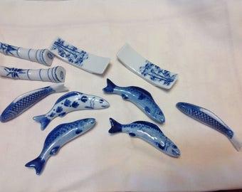 Vintage Koi Fish Knife / Chopstick Holders Blue & White Plus Four