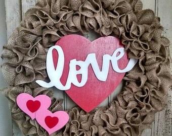 LOVE Valentine's Day burlap ruffle wreath