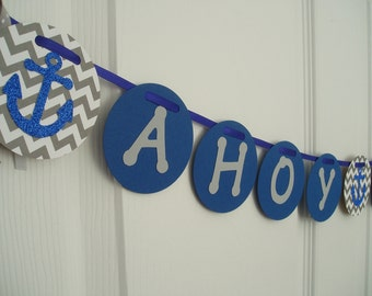 Ahoy Its A Boy Banner, Anchor Baby Shower Banner, Glitter and Paper Anchor Garland, Boys Nautical Banner, Anchor Banner, Navy Blue, Gray