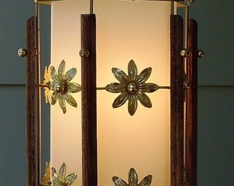 ON SALE Vintage Mid Century Pendant Light 1960's Lighting Light Fixture Floral Brass and Wood Hanging Light