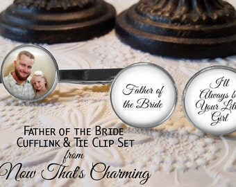 SALE! Father of the Bride Personalized Cuff Links and Tie Clip Set