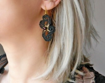 Black lace earrings with crystals and gold painting Sexy and Elegant lace earrings Goth earrings Crystal earrings Gothic statement earrings