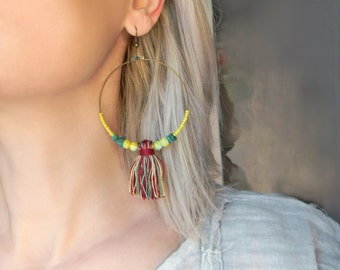 Boho chic dangle tassel earrings Large circle earrings with Amazonite Hippie BOHO jewelry Huge earrings Big tassel earrings Hippie jewelry
