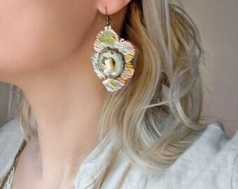 Lace and wood earrings Asymmetrical lace earrings Unique handmade earrings with bone beads Hand painted fabric earrings Wood dangle earrings