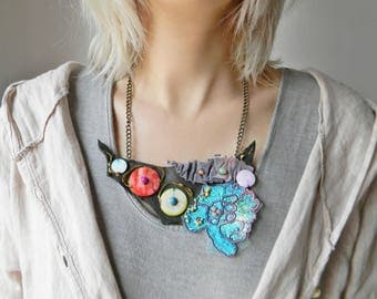 Gray leather bib necklace with turquoise blue embroidery and shell beads Statement fashion necklace Colorful big necklace Trending jewelry