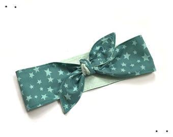 Rockabilly headband stars mint teal 50s pin up
