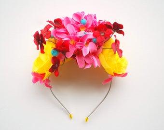 Pink Yellow Exotic Flowers Bridal Headband, Beach Hawaiian Weddings Hair Accessories, Beach Wedding Bridal Headband, Photo Prop, Frida Kahlo