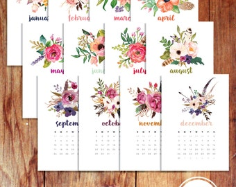 A5 2017 Monthly Planner Calendar Dashboard Divider Agenda Inserts Floral Watercolor Printable Instant Digital Download