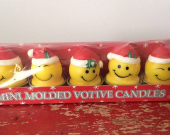 Vintage Christmas Mini Molded Smily Face Votive Candles