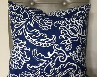 Pillow Cover, Throw Pillow, Decorative Pillow Cover, Throw Pillow, Cushion, Pillow Case, Navy White Pillow Floral Pattern, Sofa Pillow