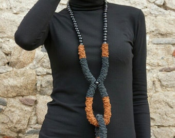 NEW Collection Fall Extravagant Brown & Black Genuine Leather Long  Necklace with Beads/HandMade Unique Accessory by AAKASHA A16536