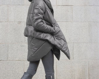 NEW Winter Extra Warm Asymmetric Extravagant  Grey Hooded Coat / Waterproof Windproof Quilted with Side Pockets   by Aakasha A07550