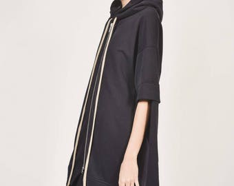 New Black  Extravagant Maxi Asymmetric Hoodie French Terry  Cotton Top Side pockets Sleeves with Thumb holes  HandMade by AAKASHA A08625