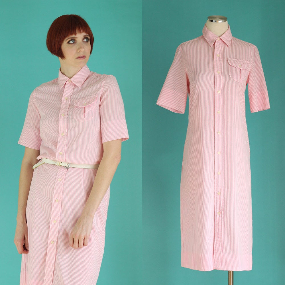 Vintage 80s Pink Seersucker Dress Striped Dress Shirt