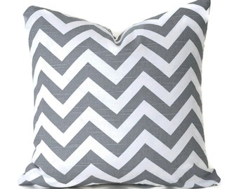 Pillow Covers Decorative Pillows ANY SIZE Pillow Cover Grey Pillow Grey Chevron Pillow Premier Prints ZigZag Ash Grey